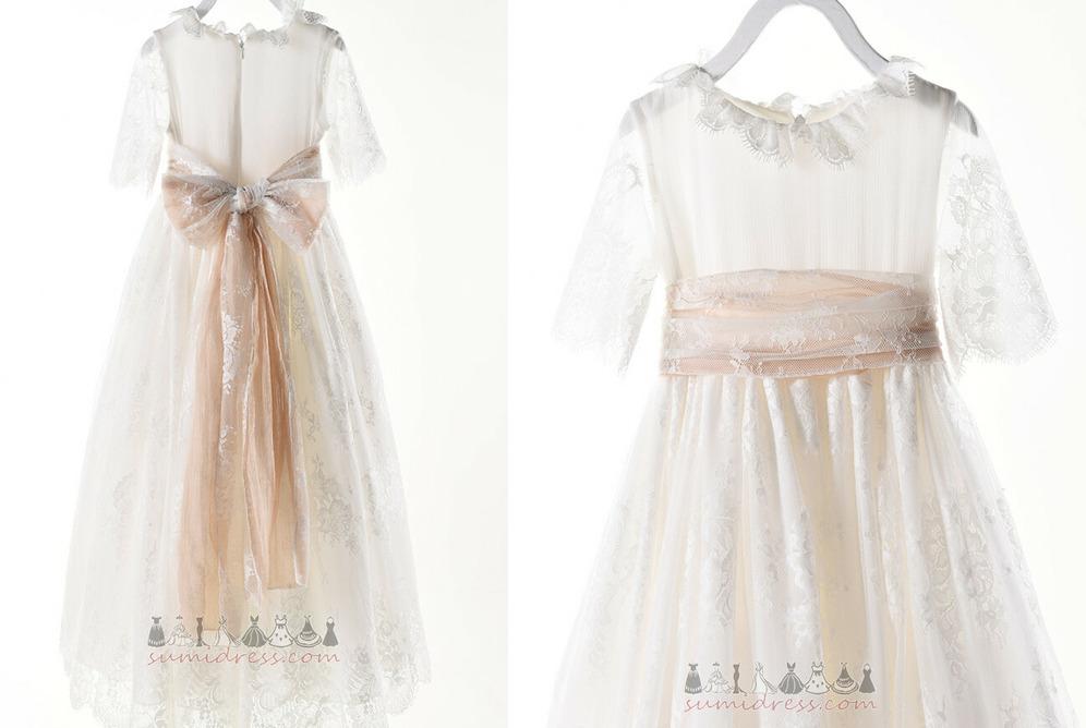 Floor Length Formal Summer Lace Sashes Natural Waist Flower Girl Dress