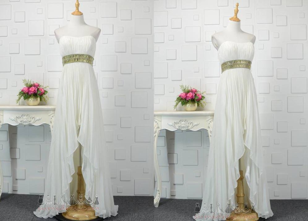 Lace-up Hemline Asymmetrical Natural Waist Chiffon Sleeveless Evening Dress