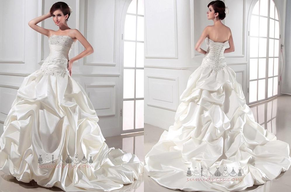 bf81a04ed6 Székesegyház vonat Természetes derék Formális Csipke-up Ujjatlan Vonalú  Esküvői ruha