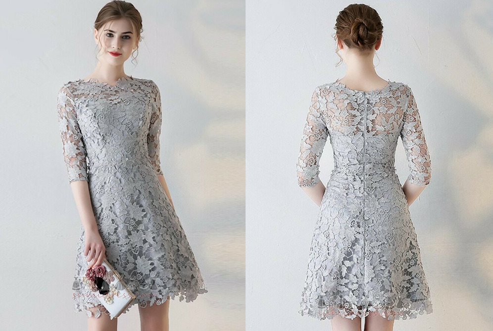 A-Line Elegant Jewel Lace Lace Overlay Natural Waist Cocktail Dress