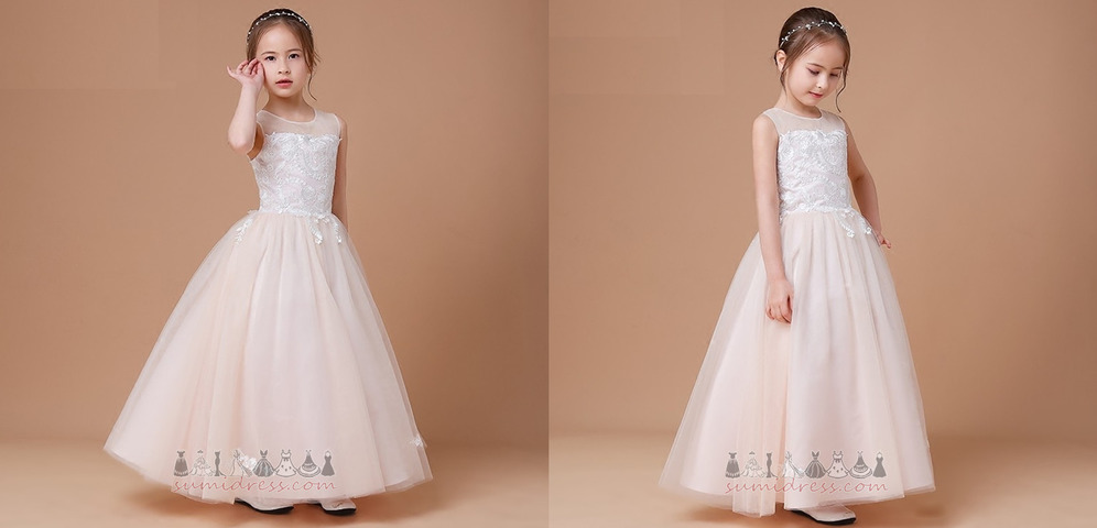 Sleeveless Applique Jewel Lace-up Formal Lace Flower Girl Dress