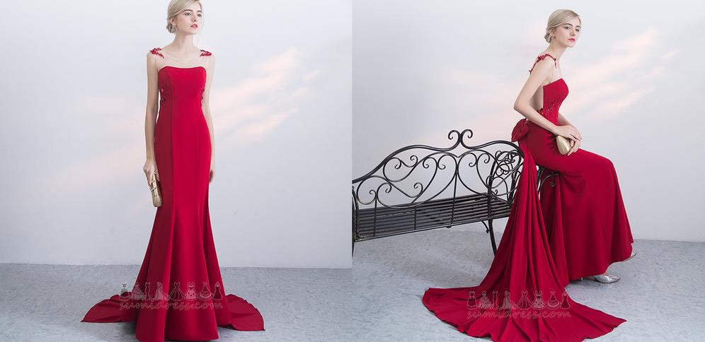 Applique Sleeveless Long Sheer Back Natural Waist Spring Evening Dress