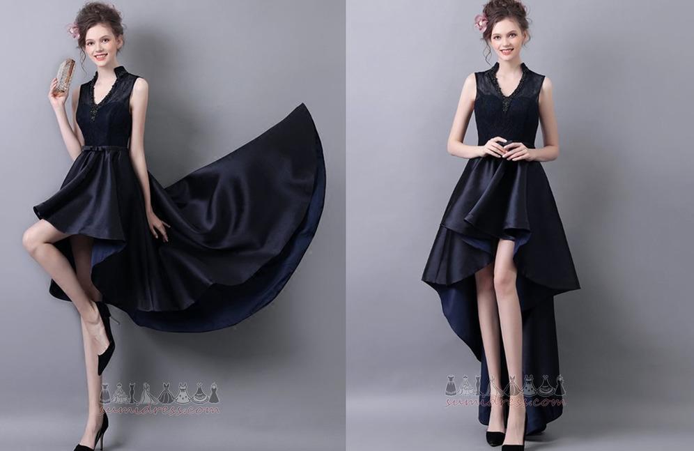 Luxueus Herfst Asymmetrisch Mouwloos V-nek Strik cocktail jurk