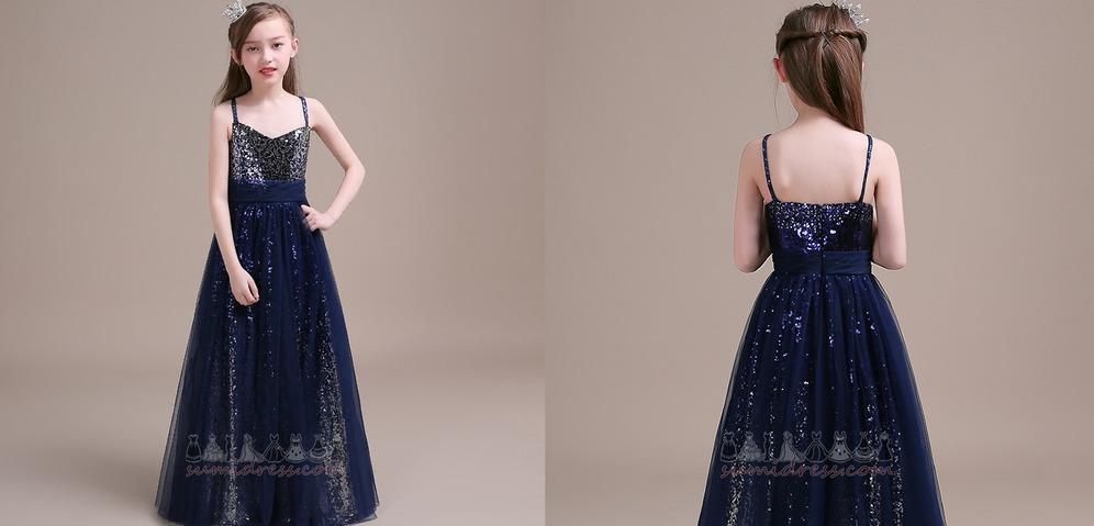 Sequined Tulle Sleeveless Spaghetti Straps Wedding Floor Length Little girl dress