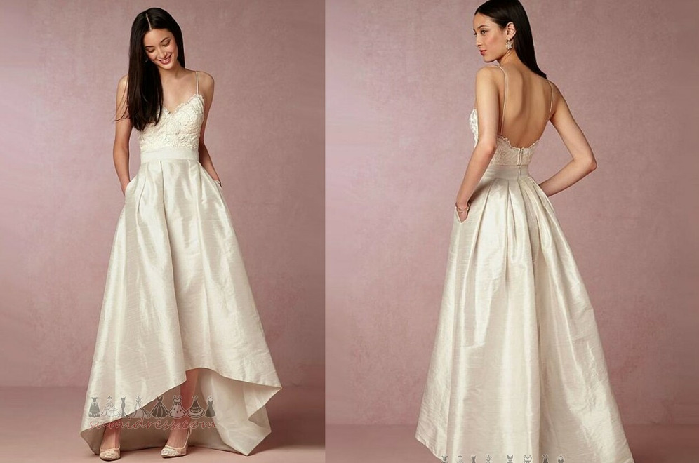 Hemline Asymmetrical Taffeta Backless Draped V-Neck Inverted Triangle Wedding Dress