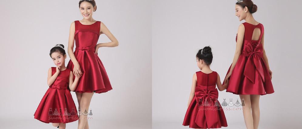Bow Knee Length Sleeveless Medium Jewel Satin Flower Girl Dress