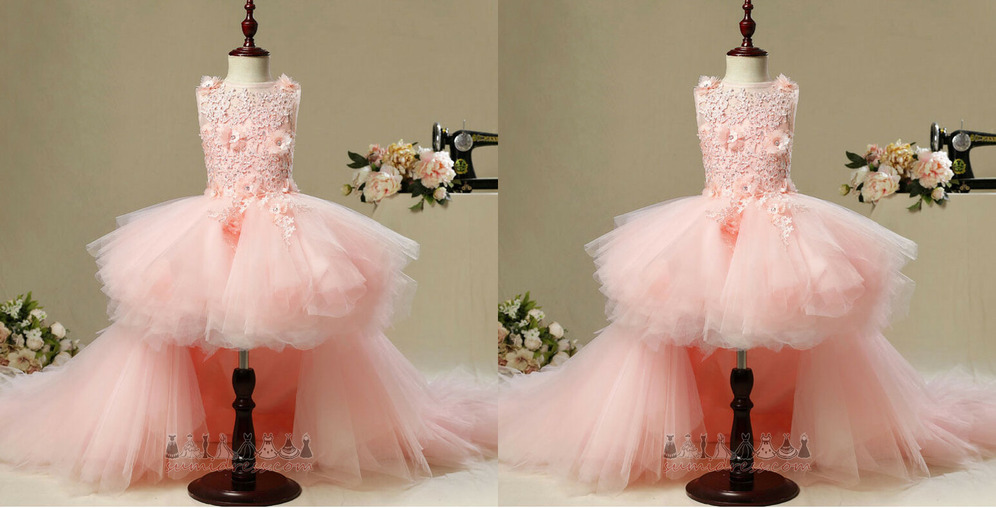 Natural Waist Zipper Up Puffy Embroidery Asymmetrical Sleeveless Flower Girl Dress