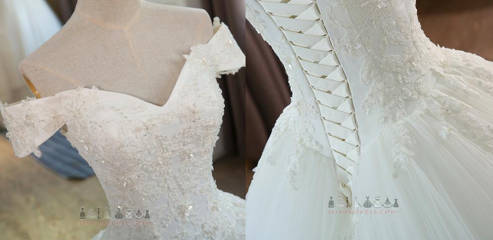 f32fd166d4 ... Hosszú Royal vonat Tüll Hercegnő Rövid ujjú Baszk derék Esküvői ruha