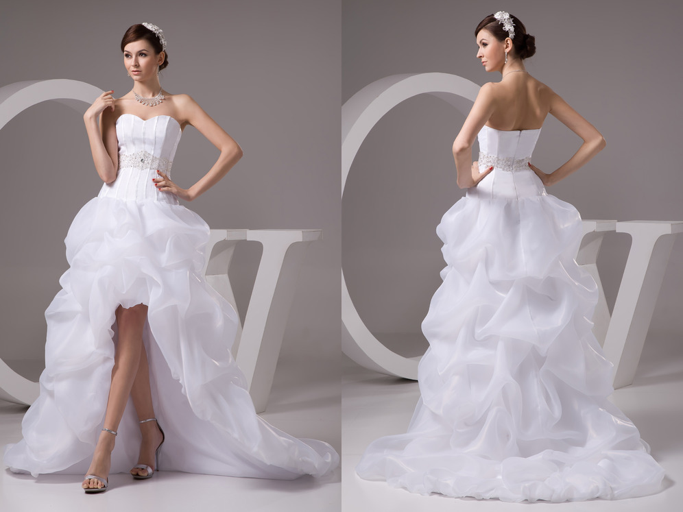 Hemline Asymmetrical Zipper Up Vintage Sleeveless Fall Strapless Wedding gown