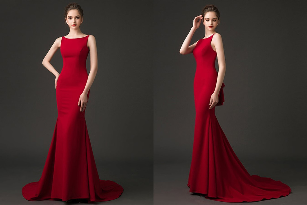 Draped Sweep Train Elegant Sleeveless Natural Waist Backless Evening Dress