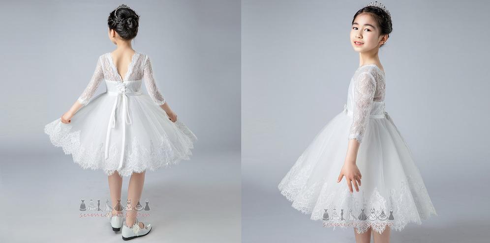 Backless Lace Knee Length Natural Waist Jewel 3/4 Length Sleeves Flower Girl Dress