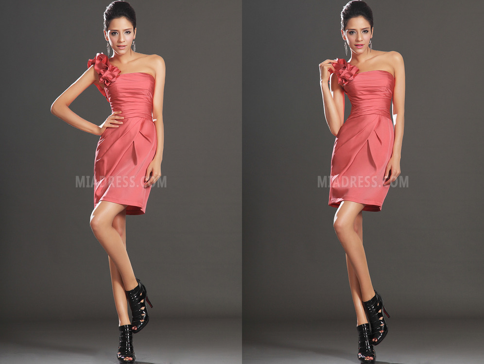 Sleeveless Elastic Satin Dropped Waist Chic Side-Draped Short Cocktail Dress