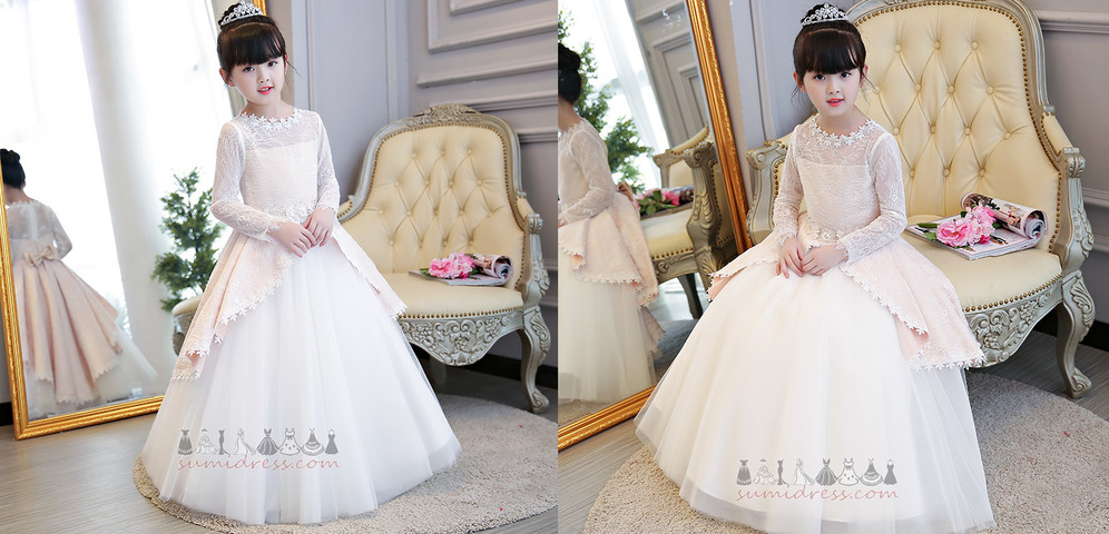 Zipper Up A-Line Jewel Floor Length Show/Performance Illusion Sleeves Flower Girl Dress
