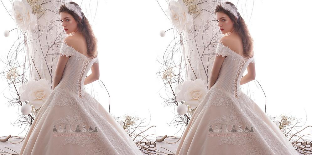 T-shirt Jewel Bodice Applique Cathedral Train Dew shoulder Lace Wedding Dress