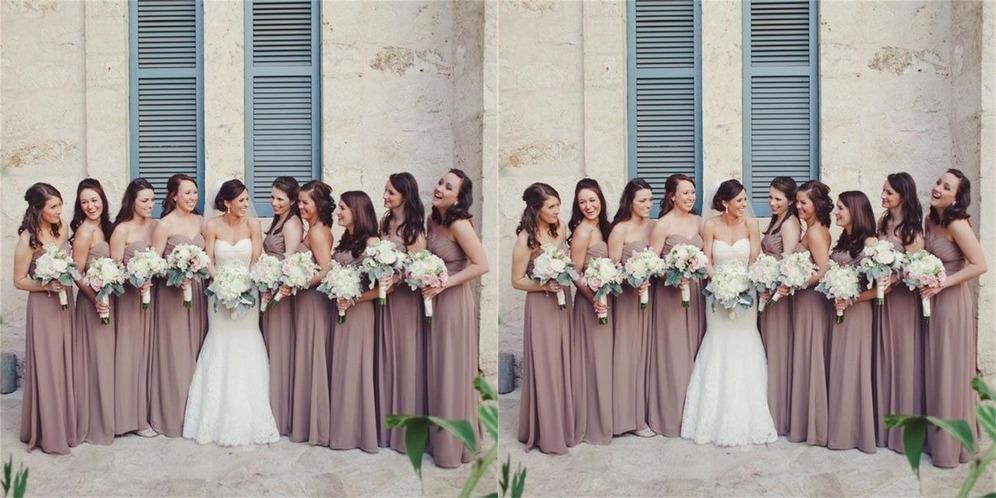 Elegante Rückenfrei Bodenlang Trägerlos Natürliche Taille Plissiert Brautjungfernkleid
