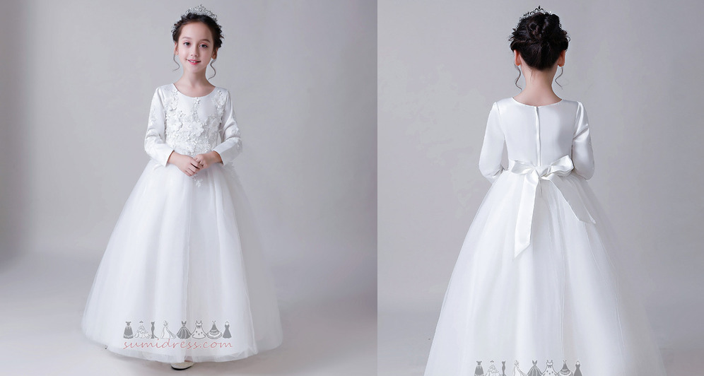 Natural Waist Satin Accented Bow Medium Winter Applique Flower Girl Dress