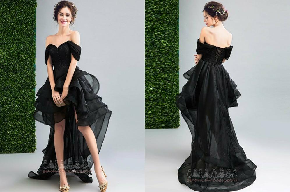 Medium Capped Sleeves Triangle pleat Sleeveless Asymmetrical Organza Cocktail Dress