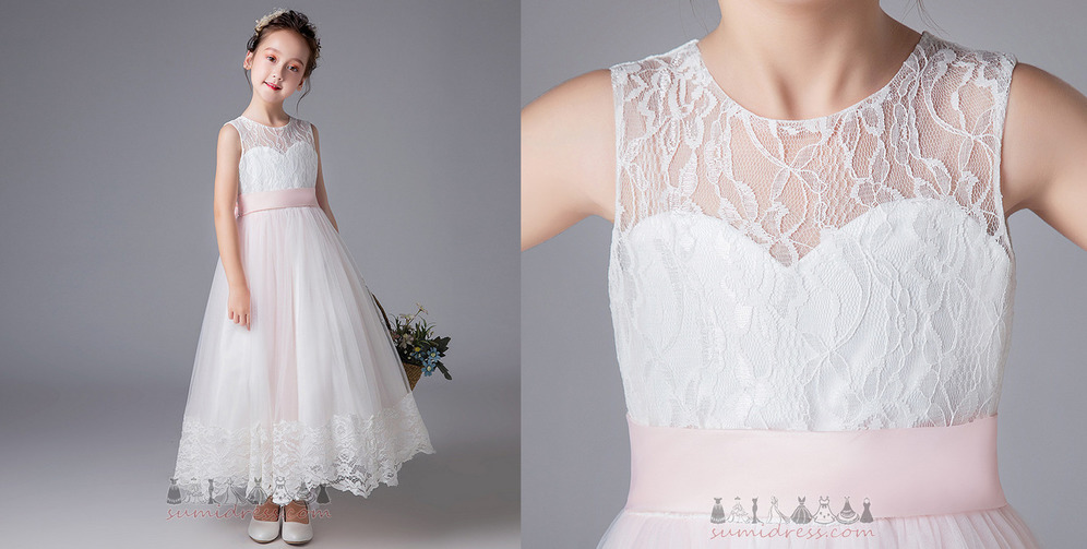 Ankle Length Bowknot Zipper Glamorous Fall Accented Bow Flower Girl gown