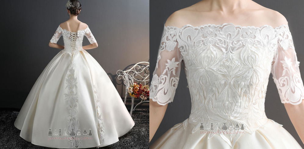 Hall Formal Applique Lace Overlay Natural Waist Satin Wedding Dress Sumidress Com,Fall Second Marriage Wedding Dresses Color