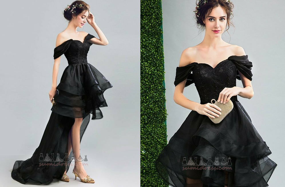 Medium Capped Sleeves Triangle pleat Sleeveless Asymmetrical Organza Cocktail Dress