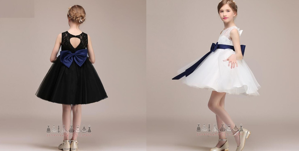 Keyhole Back Sleeveless Knee Length Sashes A-Line Show/Performance Flower Girl Dress