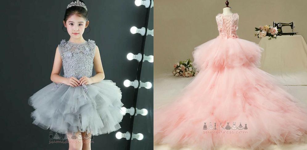 Natural Waist Zipper Up Puffy Embroidery Asymmetrical Sleeveless Flower Girl Dress