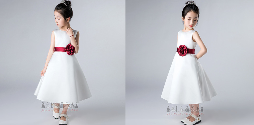 A-Line Formal Sleeveless Zipper Up Jewel Satin Flower Girl Dress