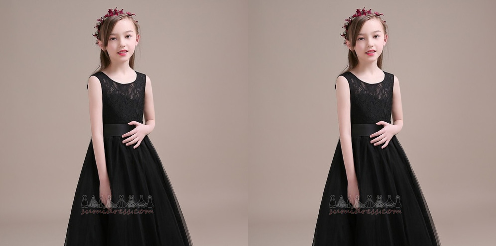 Tulle Formal Jewel Accented Bow Natural Waist Ankle Length Flower Girl Dress