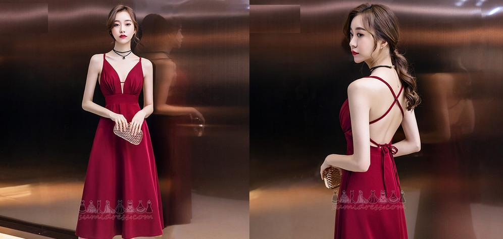 V-nek Mouwloos Glamoureuze Gedrapeerd Diepe v-hals Satijn cocktail jurk