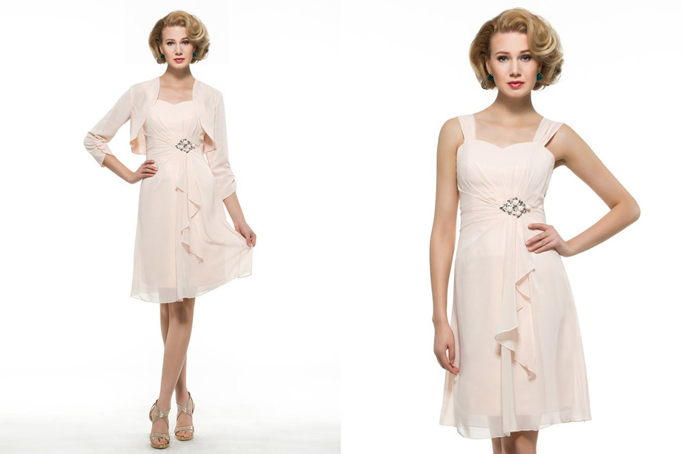 banquet Wide Straps A-Line 3/4 Length Sleeves Knee Length Pleated Mother Dress