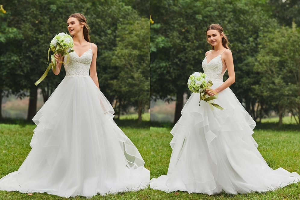 Sleeveless Chic Long Ruched Tulle Chapel Train Wedding skirt