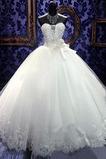 7254caef4894 Νυφικά φόρεμα Πριγκίπισσα Χάντρες Αμάνικο Τούλι αγαπημένος Φυσικό    239.33  USD
