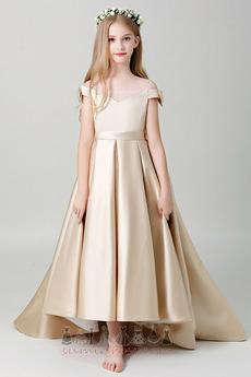 8beb5bcdfde Medium Short Sleeves Natural Waist Draped Hemline Asymmetrical Satin Flower  Girl Dress ·   101.12 USD · Ankle Length Natural Waist ...