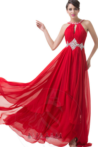 e1ea1a42407 Κόμμα φόρεμα Γραμμή Α Σιφόν Φυσικό Οδοντωτός Αμάνικο Κρυστάλλινη ...