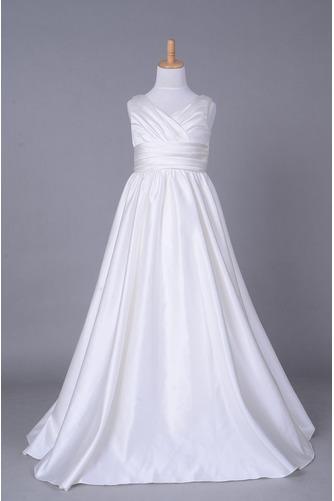 9c328c47fecd Kapell Tåg Satäng Elegant Golv-längd Medium Hall Blomma flicka klänning -  Sumidress.com